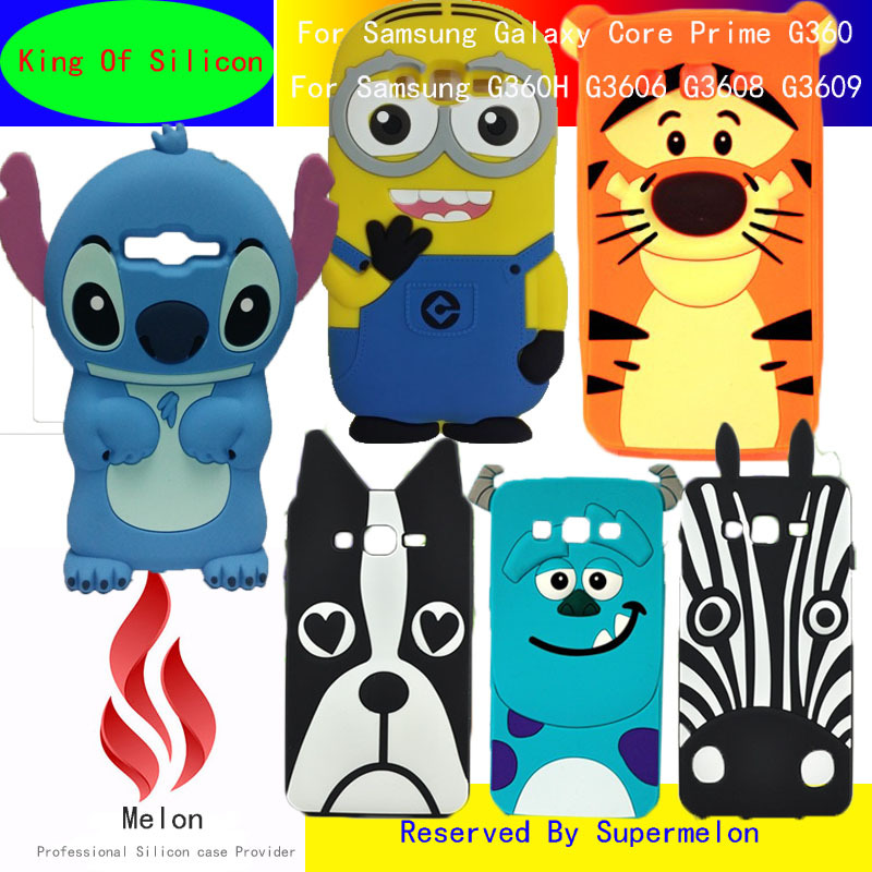 new concept 61563 cf85d Luxury 3D Cute Lovely Stitch Minnie Minions Silicon Back Cover Cases for  Samsung Galaxy Core Prime G360 G360H G3606 G3608