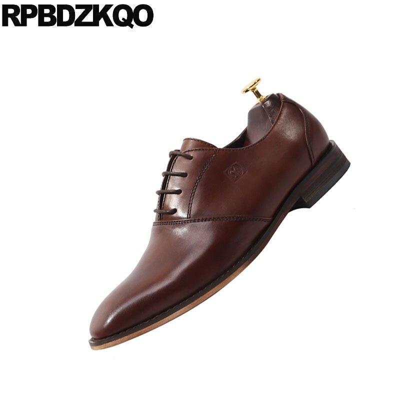 Marca Zapatos Vestido Cuero Lujo Mano Hecho A Square Hombres Marrón marrón Británico Toe Europea De Estilo Oxfords Real Negro Up Genuino Lace wgxqxFU0