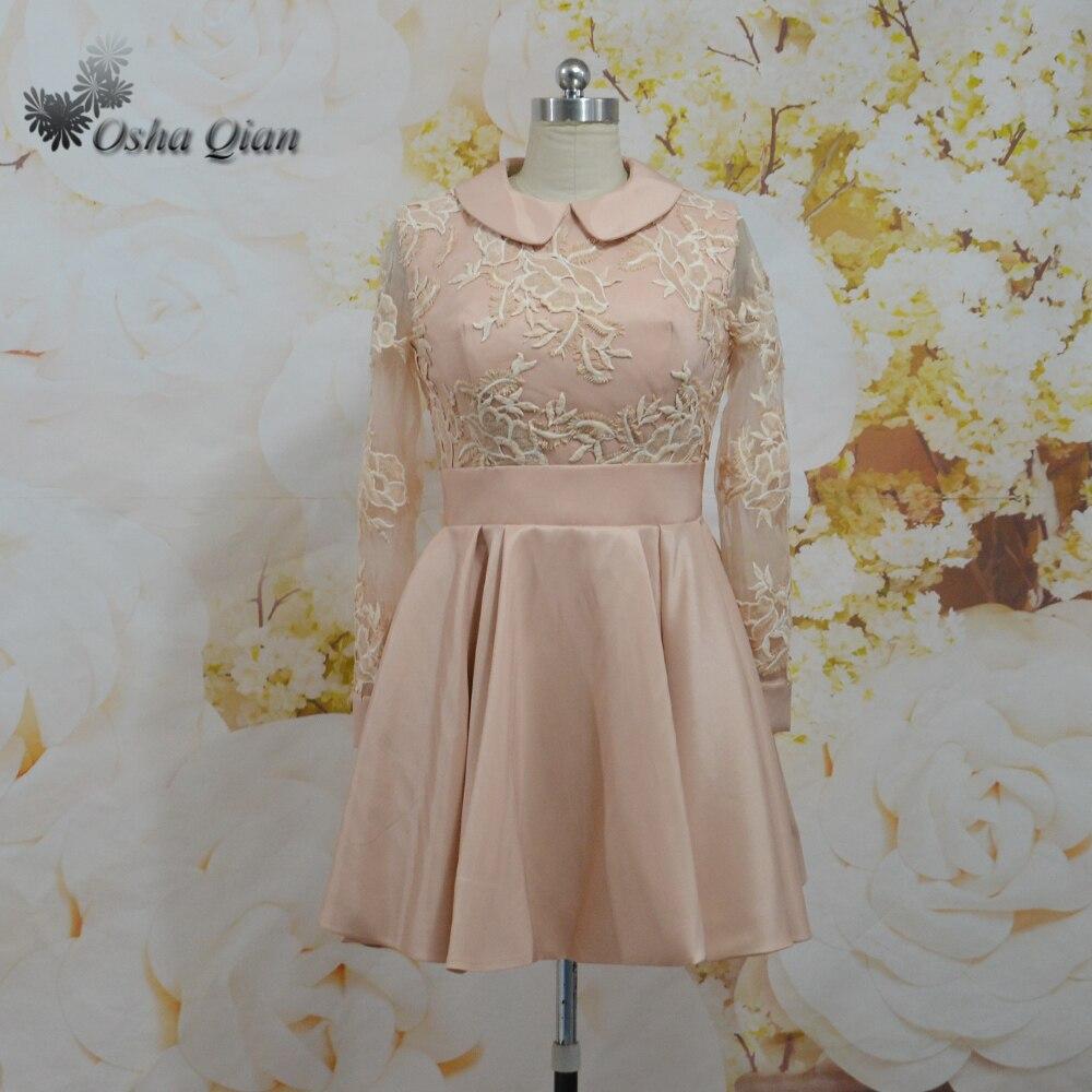 Alle Kleider abitur kleider : Champagne Lace Short College Graduation Kleid Langarm Kleider ...