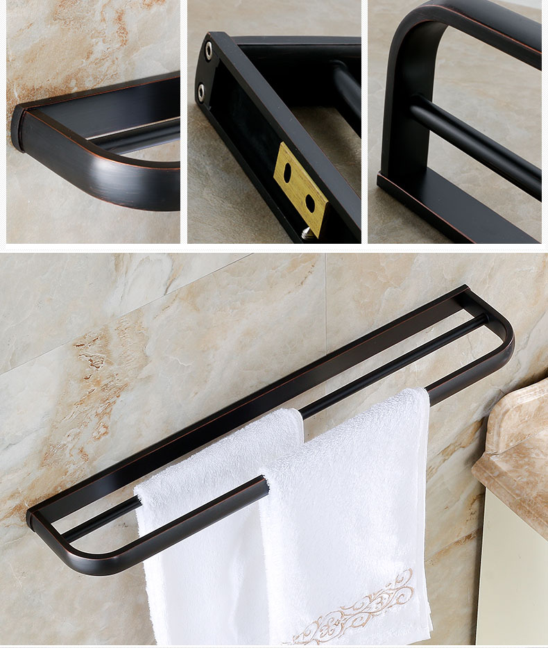 Rose Golden Antique Wall Mounted Towel Rack Bathroom Double Towel Bar Towel Shelf 57cm 4 Styles In Towel Bars From Home Improvement On Aliexpress Com