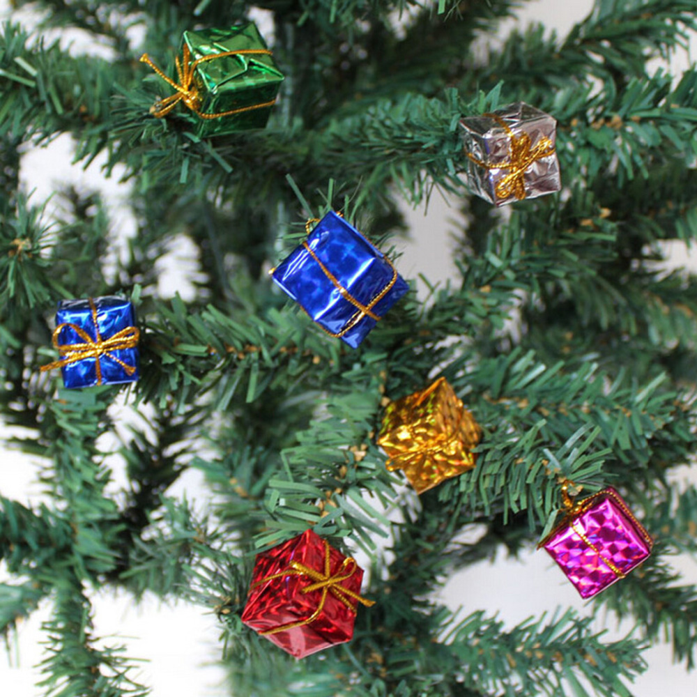 Christmas tree decor in a box -  12pcs Gift Box Shape Merry Christmas Tree Ornaments Home Holiday Party Noel Decorations Festival Decor Supplies