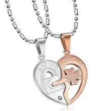 MINCN 2PC Set Fashion Stainless Steel Jewelry Mens Womens Key Heart Pendant Necklace Titanium Couple