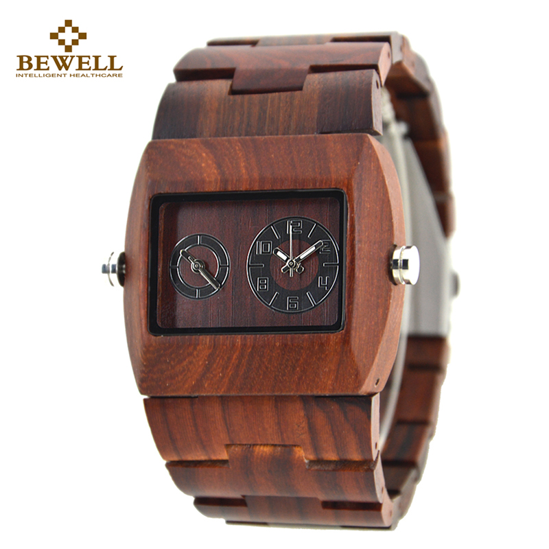 BEWELL Fashion Mens Dual Time Zone Watches Men Sport Watches Man Wood Rectangle Case Wooden Quartz-watch with Paper Box 021C bewell multifunctional wooden watches men dual time zone digital wristwatch led rectangle dial alarm clock with watch box 021a