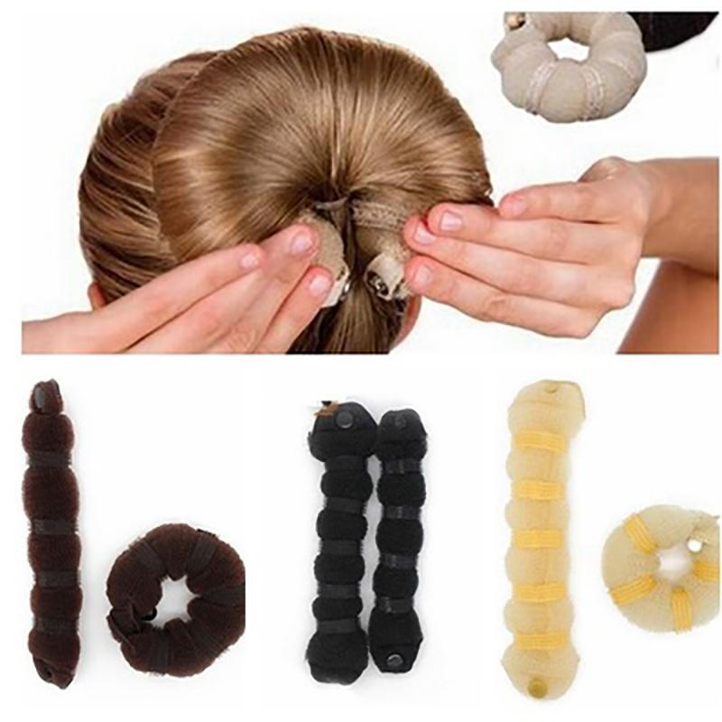 Women Hair Styling Former Magic Sponge Bun Maker Donut Ring Shaper Foam Braider Tool For Girl's Diy  Style Big Size 1 Pcs
