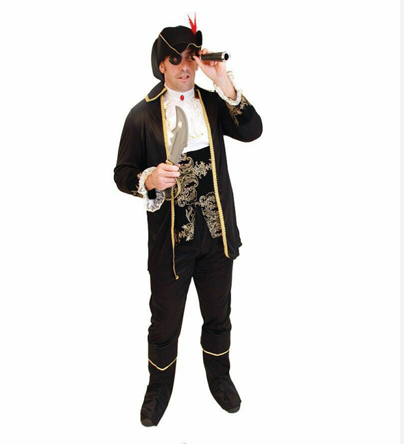 UTMEON Adult Men's Luxury Pirate Costume Imitation Halloween Party Cosplay Pirate Clothes Fancy Dress Up Deluxe Pirate Costumes