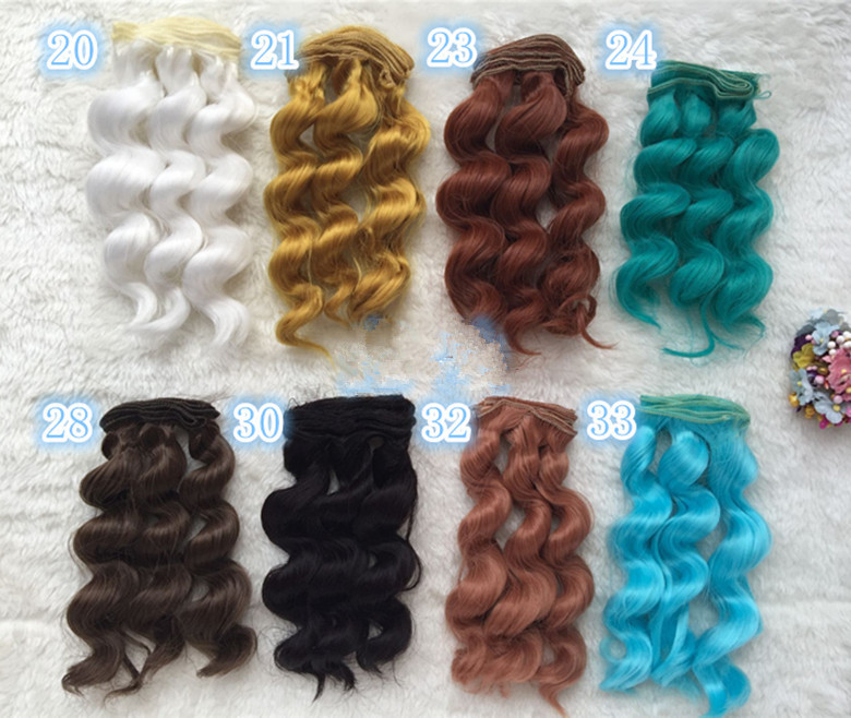 Thick 15cm*100cm BJD SD DIY doll wire curly wave hair wigs