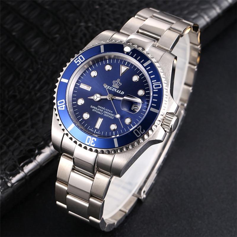 Image 4 - REGINALD Watch Men Rotatable Bezel GMT Sapphire glass 50m Water Full Steel Sport Fashion blue dial Quartz Watch Reloj HombreQuartz Watches   -