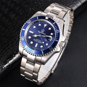 Image 4 - REGINALD Watch Men Rotatable Bezel GMT Sapphire glass 50m Water Full Steel Sport Fashion blue dial Quartz Watch Reloj Hombre