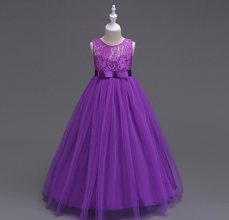 2017 New Purple Puffy Lace Flower Girl Dress for Weddings Sleeveless Ball Gown Girl Party Communion Pageant Gown Vestidos fashionable sleeveless sequins embellish multilayered flower spliced mini ball gown dress for girl