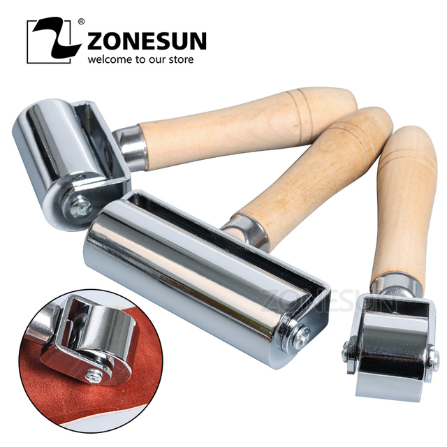 ZONESUN Press Edge Roller Leather Glue Laminating Leather Craft Tools Leather Edge Creaser Smoother For DIY Handmade