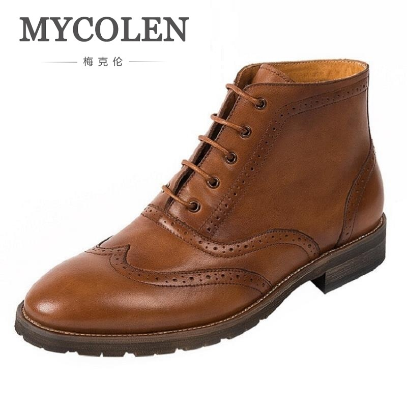 MYCOLEN High Quality Men Boots Winter Casual Shoes Leather Fashion Boots Motorcycle Boot Comfortable Men Shoes Askeri Bot the are comfortable casual men shoes casual leather socks shoes breathable sneaker fashion boots men casual shoes handmade