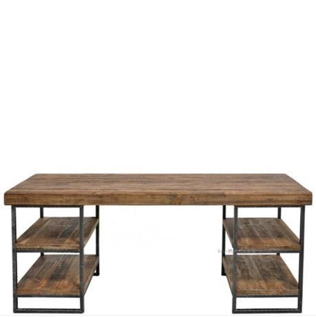 LOFT American country style iron console table nostalgic wood bedroom desk drawer desk Desk