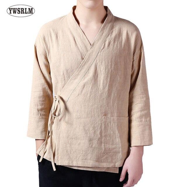 codice promozionale 8aba9 4a165 US $35.0 |YWSRLM tradizionale Cinese Dinastia Han Costume camicie da uomo  Giapponese Harajuku Camicia di Lino stile Cinese Cintura Del Kimono camicie  ...