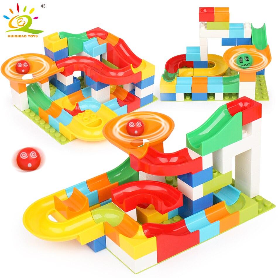 52 piezas Race Run Maze Balls pista grandes bloques de construcción Compatible Legoed duplo Construcción de ladrillos educativos juguetes para niños