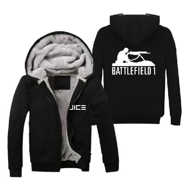 2016 Juego Battlefield 1 Sudaderas Con Capucha de Invierno Negro de Lana Súper Caliente de Algodón Con Cremallera hasta Abrigos Sudaderas