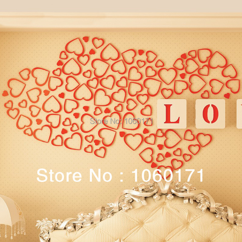 wedding decoration love heart wall stickers home decor adesivo de ...