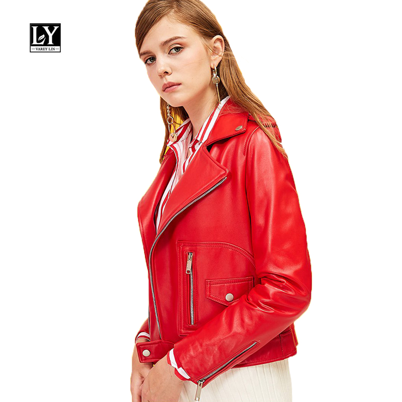Ly Varey Lin Pu   Leather   Jacket Women Turn-down Collar Motorcycle Epaulet Faux Soft   Leather   Pu Red Black Lady Punk Overcoat