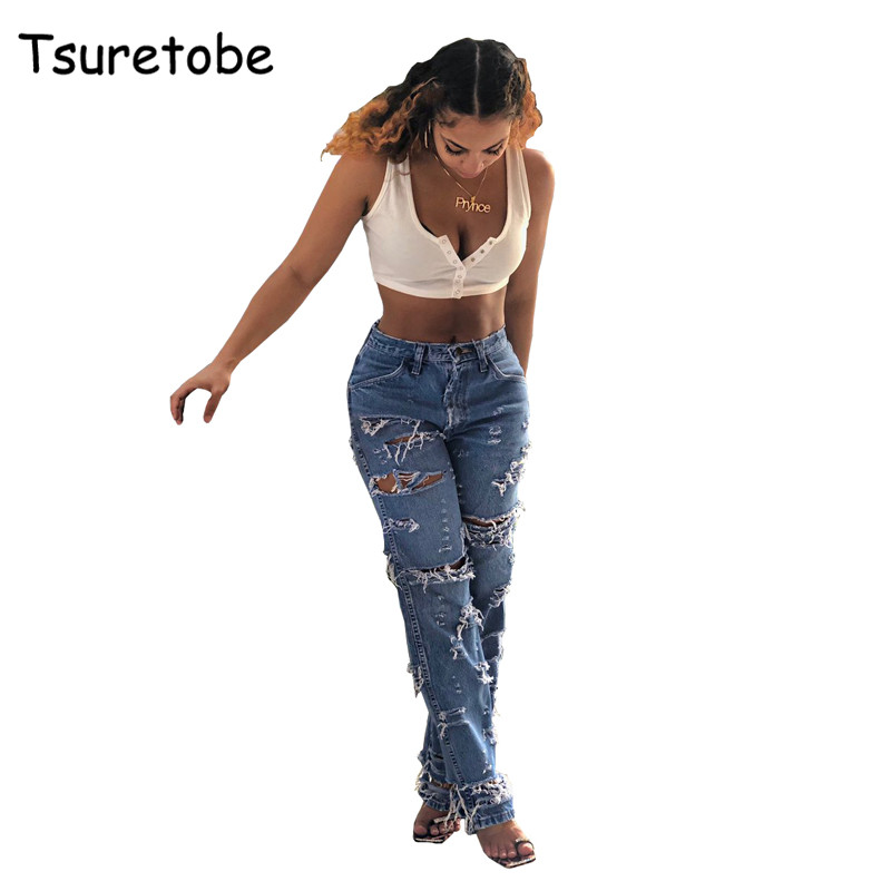 Tsuretobe Casual Hole Jean Pants Women Destroyed Ripped Distressed Slim Trousers Ladies Fashion Hollow Out Deans Pant Female