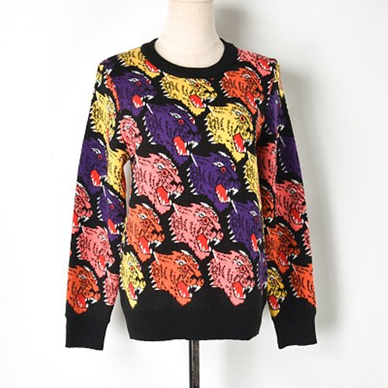Ultimate SaleKnitted Sweater Tiger-Head Round-Neck American-Style Straight Thick And European Multicolor