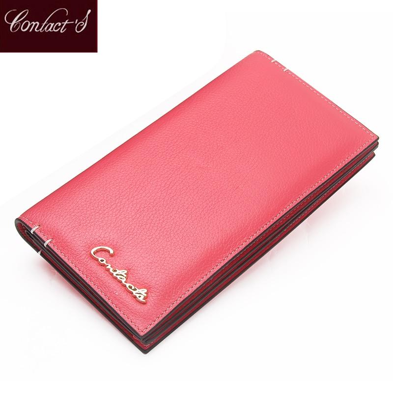 Porte-monnaie en cuir véritable de la marque de contact de la marque de contact de la dame partie sac d'argent femelle poche de la pièce avec porte-carte