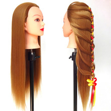 25Inch Golden Hair Hairdressing Head Human Mannequins Model With Clamp Practice Tools Cosmetology Mannequin Heads