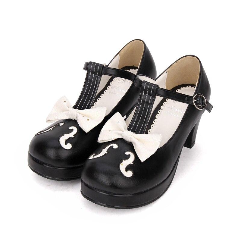8937 blanco Princesa Negro Mujer Y Grueso Zapatos De black 46 Bombas 35 Tacón And Lolita White Dulce Alto Impresión Tamaño Angelical Encantadora La O0CwUxHT0