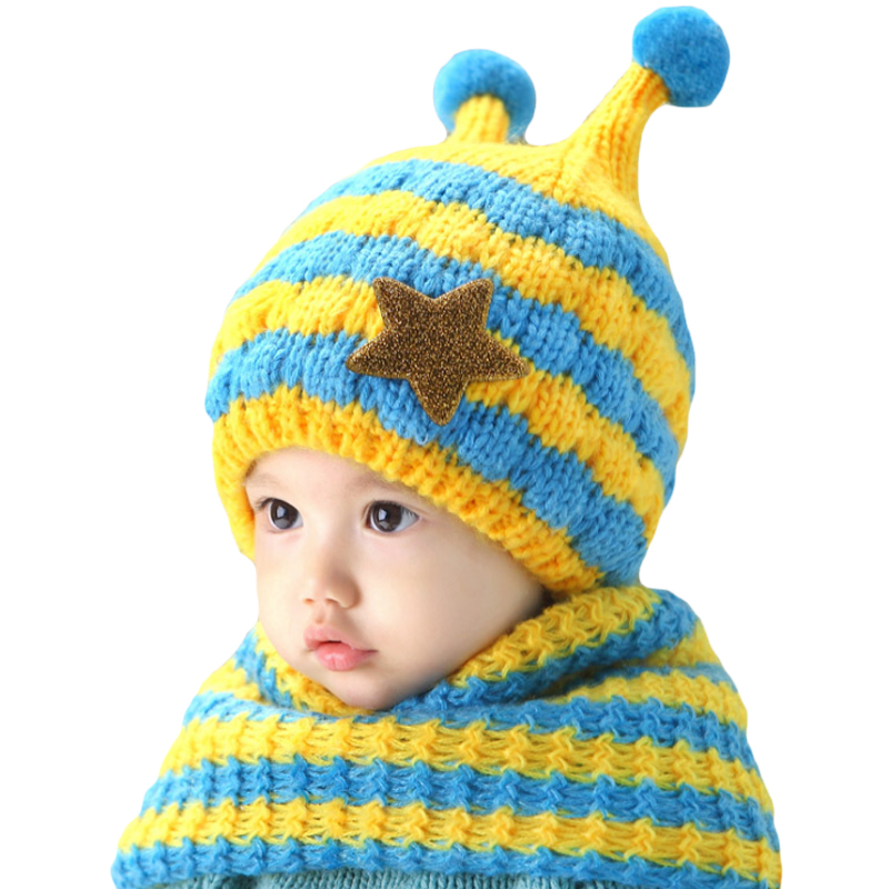 Winter plush ear muff hat crochet baby hat for Girls Boys baby hat scarf set Headband Knit baby cap All For Children's Clothing