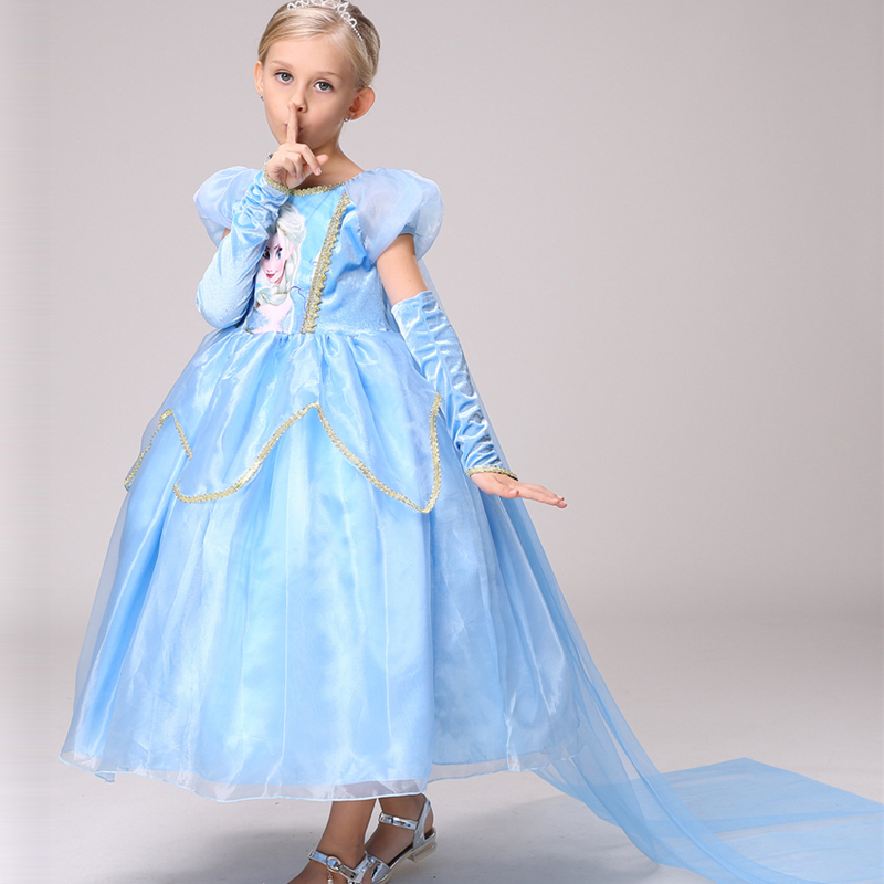 цена  Elsa Dress Girl Dress Summer 2017 Kids Anna Elsa Costume Blue Girl Party Princess Dress with cloak 3 4 5 6 7 8Years Kids Clothes  онлайн в 2017 году