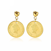 Gold Coin Earrings Queen Elizabeth II Disc Circle Vintage Dangle for Women Best Mothers Gift British Royal Jewelry