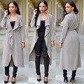 2 цвета 2016 Зима основные пальто женщины твердые неравномерность длинные траншеи пальто женский вскользь уменьшают кардиганы пальто # Y162