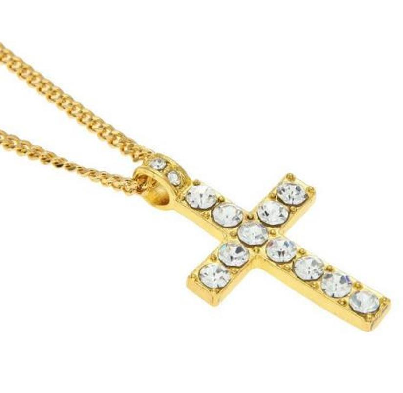snowshine YLWX FHip Hop Men Women Jewelry Bling Rhinestone Crystal Cross Pendant Necklace shipping