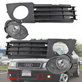 Para Audi A6 C5 2002-2005 Left & Right Side Frente Limpar Lens Fog Lights Lâmpadas & Car Lâmpadas Grelhas de cobertura