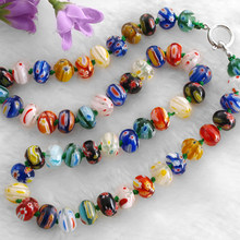3 PCS/Lot Millefiori Kaca Lampwork Murano Beads Kalung 10x7mm HOT(China)