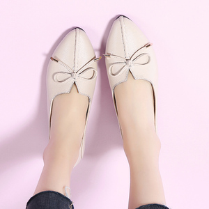 Image 4 - STQ 2020 Autumn Women Ballet Flat Heel Shoes Genuine Leather Slip On Bowknot Woman Shoes Moccasins Loafers Work Shoes 1190