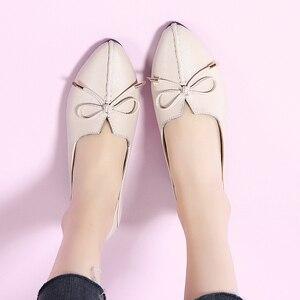 Image 4 - STQ zapatos de Ballet para mujer, calzado de tacón plano de piel auténtica sin cordones con lazo, mocasines de trabajo, otoño 2020