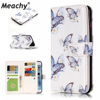Meachy Leather Wallet Case For iPhone 7 6 6s Plus Luxury Butterfly Flip Cases For iPhone 6s Case With 9 Credit Card Slots N42