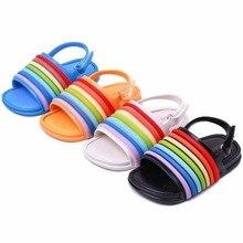 Mini Melissa 2018 New Rainbow Stripes Jelly Sandals Girl Shoes Non-slip Beach Baby