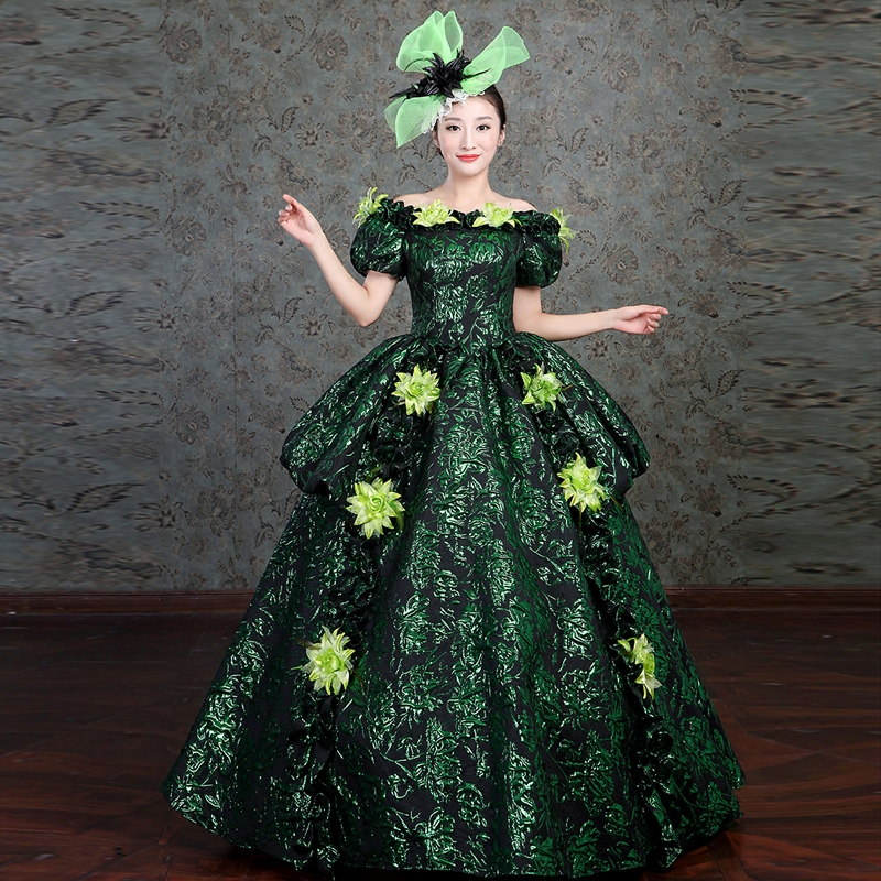 Customized 2018 Slash Neck Short Sleeve Green Floral Fantasy Party Long Dress Medieval Rococo Baroque Ball Gowns Drop Shipping
