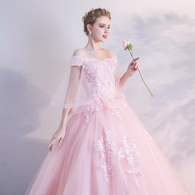 Online Shop Baby Pink Quinceanera Dresses Ball Gown Tulle With Lace ...
