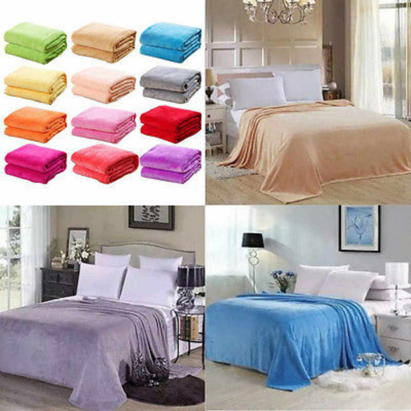 Small Super Flannel Velvet Warm Solid Warm Micro Plush Fleece Blanket Throw Rug Bedding Cover Case Sheets