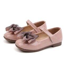 Confortável crianças primavera moda couro artificial meninas sapatos bonito arco meninas sapatos de bebê tamanho 21-36 meninas princesa sapatos