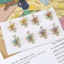 10Pcs Korean Style Sweet Flower Earrings For Women 2019 alloy drop oil lilac pendant material DIY handmade jewelry accessories