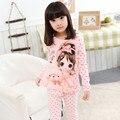 Varejo Menina Dos Desenhos Animados Impresso Meninas Mangas Compridas Pijama Definido para o Outono de 2016 Nova Algodão das Crianças Pijamas Infantis Meninas Sleepwear conjunto
