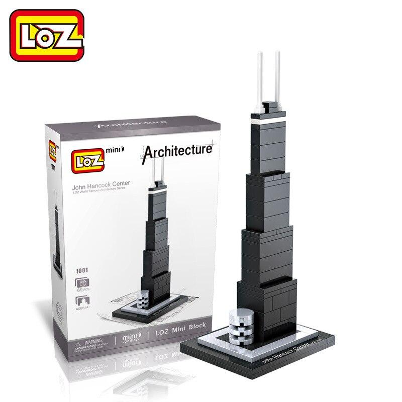 New LOZ World Famous Architecture Series John Hancock Center 3D Model Mini Building Blocks Toys Classic Children Educational Toy