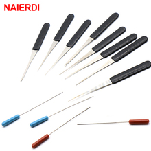 Набор слесарных инструментов NAIERDI, комплект из 12 предметов для извлечения сломанных ключей, с ручкой из нержавеющей стали