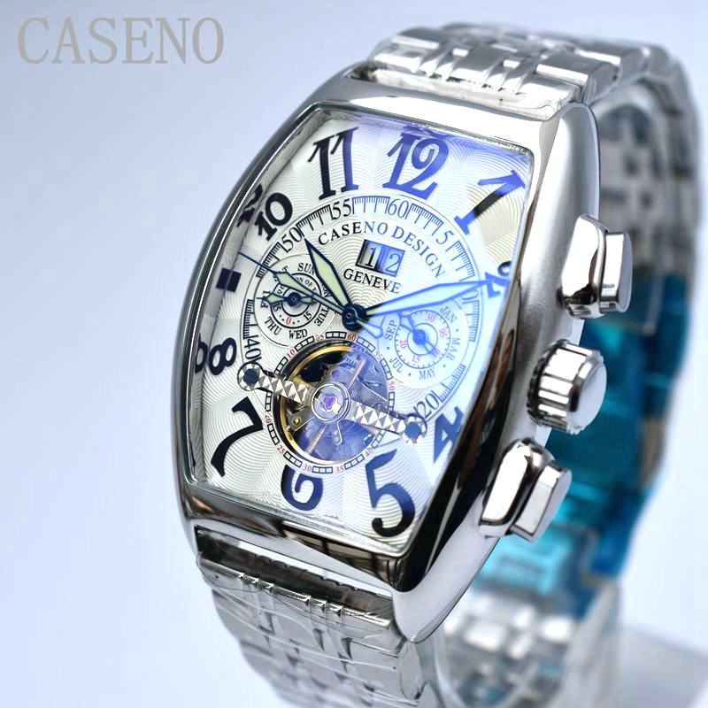CASENO Tourbillon Esqueleto mecánico automático relojes para hombre, relojes deportivos militares de lujo, relojes de acero inoxidable para hombre-in Relojes mecánicos from Relojes de pulsera    1