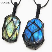 Canner Labradorite Necklace Yoga Energy For Men Women Natural Stone Pendant Wrap Braid Macrame Chain W4