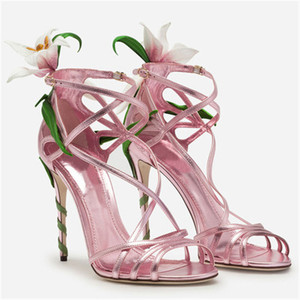 Image 4 - Luxury Lily Embellished Metallic Leather Strappy Stiletto Sandals Women Open Toe Ankle Strap Floral Heel Shoes Woman 2019 Summer