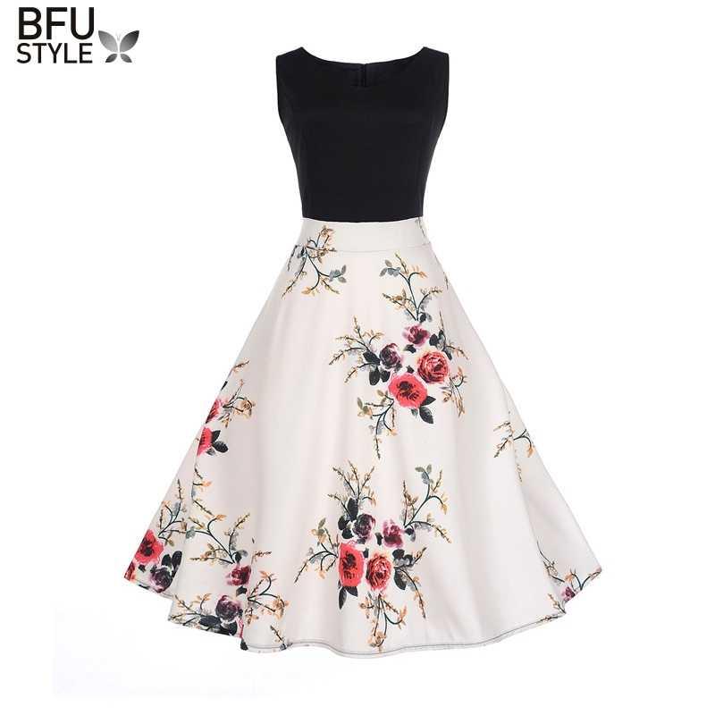 Женское летнее платье 2019, контрастный цвет, одежда, халат в цветочек, Ретро стиль, свободное повседневное 50 s, винтажные платья рокабилли, Vestidos Jupe