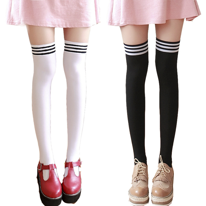2018 Fashion 3 Stripes JK School Uniform Over Knee High Tight Socks Velvet Lolita Stocking